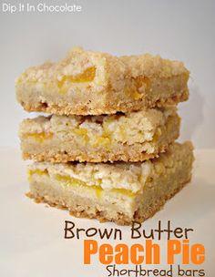 Dip it in Chocolate: Brown Butter Peach Pie Shortbread Bars