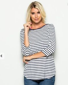 - Long sleeve, boat neck, top with navy and white stripes. Stripes Fashion, Sporty Chic, Navy Stripes, Striped Tee, Navy And White, Amazing Women, Ideias Fashion, My Style, Tees