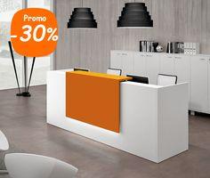 Banque contemporaine BENCH pour 2 en blanc avec Top laqué orange