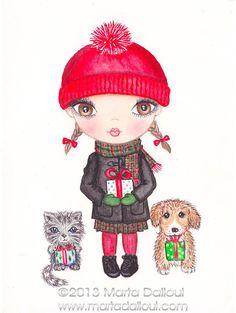 Girl with present original watercolor art 4.5 x 6 от MartaDalloul