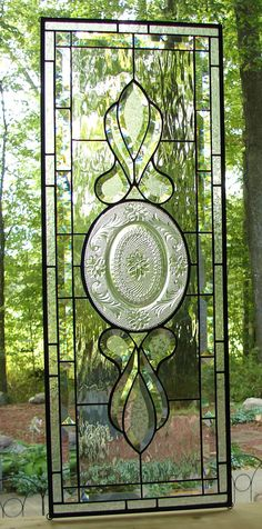 Beveled Sidelight Transom stained glass by Barbarasstainedglass,