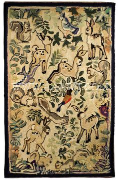 Antique Hooked Rug, Woodland Animals and Leafy Motifs, entire view