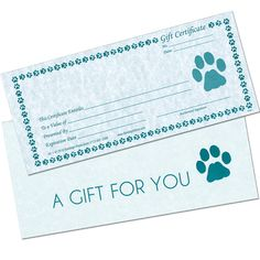 """These elegant parchment certificates, bordered with paws, are """"just paw-fect"""" for gift-giving. Great for pet shops, Groomers, Veterinarians and Kennels. A nice way to show appreciation for referral customers, too. Rubber stamp your business name in the corner. Stub attached for your records. Certificates come with beautiful matching envelopes."""