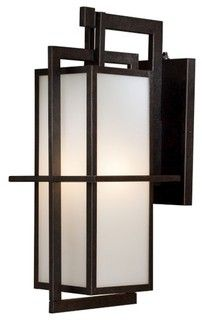 "8"" One Light Outdoor Wall Lantern in Textured French Bronze - modern - outdoor lighting - by AllModern"