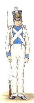 Fusilier du Régiment Prinz Anton (distinctive bleue, boutons jaunes).