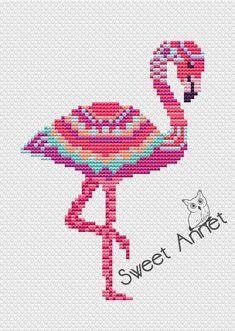 Flamingo Cross Stitch Pattern, Mandala cross stitch, Bird cross stitch, PDF pattern, Animals cross s Cross Stitch Bird, Simple Cross Stitch, Cross Stitch Animals, Cross Stitch Flowers, Cross Stitch Designs, Cross Stitching, Cross Stitch Embroidery, Embroidery Patterns, Hand Embroidery