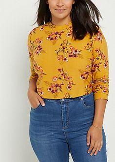 Plus Mustard Floral Mock Neck Crop Top Plus Size Tees, Trendy Plus Size Fashion, Badass Women, Shoulder Shirts, Dress For Success, Mock Neck, Thrifting, Mustard, Off The Shoulder