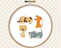Dog cross stitch pattern pdf - instant download - animal cross stitch - easy cross stitch pattern par GentleFeather sur Etsy https://www.etsy.com/fr/listing/280615060/dog-cross-stitch-pattern-pdf-instant
