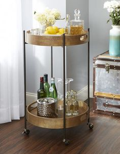 Bar carts are a must have for entertaining and hosting. Turn it into a style statement with Bellacor's tutorial on how to put together your bar cart. Diy Bar Cart, Gold Bar Cart, Bar Cart Decor, Bar Carts, Outside Bars, Metal Tree Wall Art, Bar Furniture, Baroque Furniture, Accent Furniture