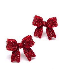 Ruby Bow Earrings