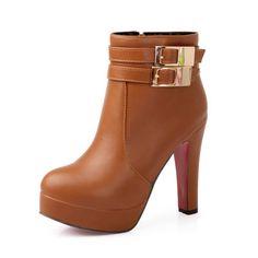 Women's High-Heeled PU Boots w/ Round Toe & Belt & Buckle & Platform