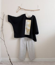 over size black linen top with vintage by annyschooecoclothing
