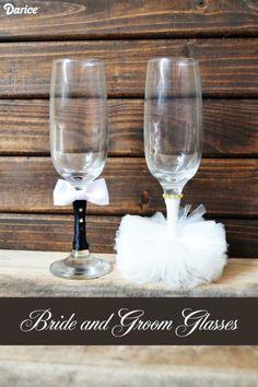 DIY Wedding Crafts: Bride and Groom Glasses