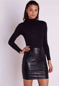 Black Leather Sheath Skirt & Black Turtleneck Sweater. | Sheldon C ...