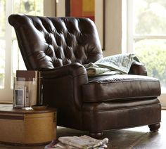 pottery barn leather chairs   Why? This chair would make my home feel like an old library - in a ...