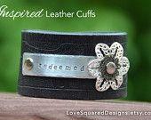 Leather cuff, Redeemed, Metal stamped bracelet, premium leather cuff, Love Squared Designs