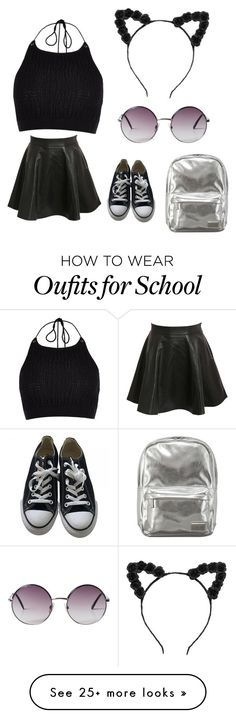 """""""school."""" by sasadenisaa on Polyvore featuring Converse, Monki, Pantone, Pilot and River Island"""