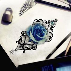 rose tattoo, blue, lace tattoo, realistic tattoo, diamond tattoo, ornamental…