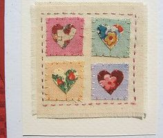 Hand-stitched card made by Helen Drewett COLOURS OF LOVE more in my shop! | eBay Fabric Cards, Fabric Postcards, Cute Cards, Diy Cards, Quilting Projects, Sewing Projects, Patchwork Cards, Stitching On Paper, Sewing Cards