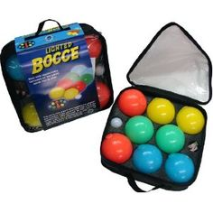 Glow in the dark Bocce Set! Lawn Games, Backyard Games, Backyard Ideas, Bocce Ball Court, Outdoor Games For Kids, Picnics, Rave, Ball Lights, Water Sports