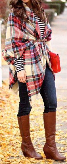 Belted Tartan Scarf + OTK Boots ❤︎ #streetstyle #fallfashion