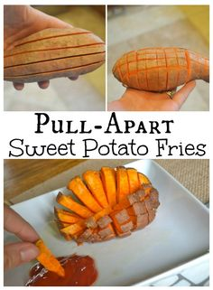 """Pull-Apart Sweet Potato Fries.  Super Easy to make.  The Fries turn out crispy and easy to """"Pull-Apart""""  This method works better with smaller potatoes."""