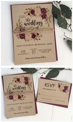 Rustic wedding invitation. Marsala wedding invitation. Burgundy wedding #weddinginvitation