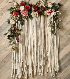 How To Make A Floral & Yarn Wall Hanging is part of Yarn crafts Wedding - Update your space with this on trend unique wall hanging Hanging Flower Wall, Yarn Wall Hanging, Flower Wall Decor, Wall Hangings, Yarn Wall Art, Diy Wall Art, Yarn Flowers, Floral Backdrop, Beltane