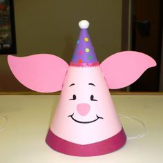 Piglet Birthday Party Hat with a Party Hat inspired by Winnie The Pooh