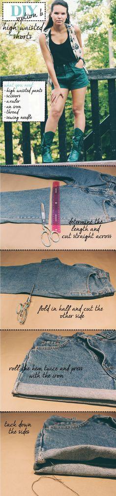 Sarrah Dolly: DIY :: High Waisted Shorts Option B #highwaisted #shorts #DIY