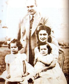 King Farouk,queen Farida with their two daughters princesses Farial and Fawzia   by Kodak Agfa