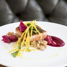 Wild Salmon with Beets and Orange Vinaigrette - The Local Palate Magazine (Food Culture of the South). I LOVE BEETS! Yum! And I like the way the bulgur is prepared, definitely going to try that.