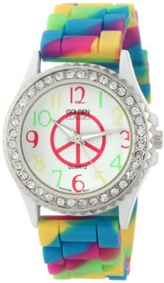 """Golden Classic Women's 2297-F """"Colors Galore"""" Rhinestone Encrusted Bezel Peace Sign Dial Silicone Watch Golden Classic. $21.45. Water-resistant to 99 feet (30 M) ? not recommended for shower or water use. Multi-colored silicone band with buckle. Highest standard Quartz movement. Silver metal rhinestone encrusted bezel. White dial with a pink peace sign and multi-colored Arabic numerals; Silver and white hour, minute, and second hands"""