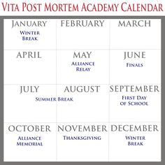 Vita Post Mortem Academy Calendar tips First Day Of School, High School, Reading School, Sequence Of Events, January February March, Fantasy Fiction, After Life, Albert Einstein, Writing Tips