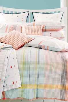 Buy 2 Pack Cotton Rich Pastels Check Bed Set from the Next UK online shop