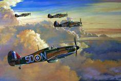 "aviationartwork: "" Hawker Hurricane Mk I, 501 Sqn. RAF, August 1940, by Spike Wademan. """