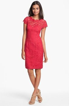 ML Monique Lhuillier Lace Overlay Sheath Dress | Nordstrom  The back of this dress has 'exit' appeal...