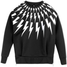 Neil Barrett Sweatshirt (£270) via Polyvore featuring mens, men's clothing and steel grey