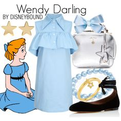Wendy Darling by leslieakay on Polyvore featuring WithChic, Tabitha Simmons, Mark Cross, Bling Jewelry, Kasané, Jennifer Meyer Jewelry, Disney, disney, disneybound and disneycharacter