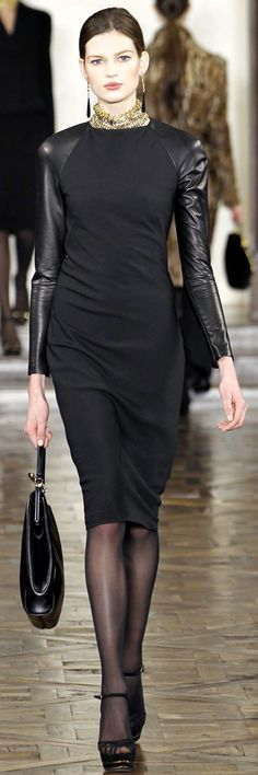 Ralph Lauren black dress with a touch of leather.