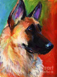 Colorful German Shepherd dog portrait by Svetlana Novikova, www.SvetlanaNovikova.com