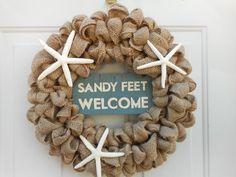 Beach wreath Beach burlap wreath Starfish by ChloesCraftCloset