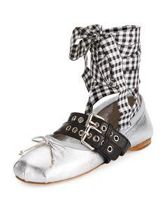 MIU MIU Metallic Belted Ankle-Wrap Ballerina Flat, Argento. #miumiu #shoes #flats