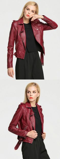 Get this modern take on the classic camel coat.Wine red biker jacket . Get it before it's gone. Shop now.