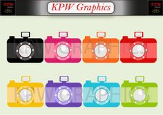 Rainbow colour Cameras Clip-art Set in a PNG format. Personal & Small Commercial use