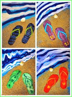 "Kunst Grundschule - End of year ""summer"" project. Textured sand, value water, warm/cool flip-. - Kunst Grundschule - End of year ""summer"" project. Textured sand, value water, warm/cool flip-. Summer Art Projects, School Art Projects, Summer Crafts, Classe D'art, Middle School Art, Spring Art, Art Classroom, Art Club, Art Plastique"