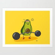 Deadlifts Art Print by kathybee - X-Small Avocado Toast, Cute Avocado, Pop Art, Avocado Cartoon, Funny Fruit, Doodle Patterns, Cute Cartoon Wallpapers, Kawaii Drawings, Diy Wall Art