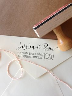 Make your mark with a custom calligraphy address stamp. What a great idea .... saves writing out your address on every thank you card.