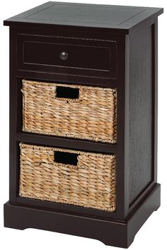 Updated Traditional Wood Cabinet in Smooth Rich Espresso with 2 Stacked Wicker Basket Drawers in Natural Sea grass Featuring Carved Detailed PanelsFeatures: Color: Espresso, Natural Finish: Burnished Theme: Updated Traditional Shipping Weight: lbs Wood Cabinets, Storage Cabinets, Wicker Basket Drawers, Office Nook, Accent Chest, Wood Nightstand, End Tables With Storage, Wooden Tops, Solid Wood