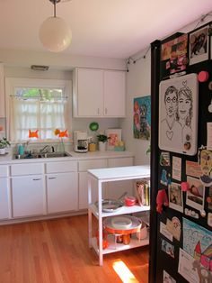 I love the white cupboards and wall. Maybe add a wall of color. Looks like the kitchen is the same size as ours.